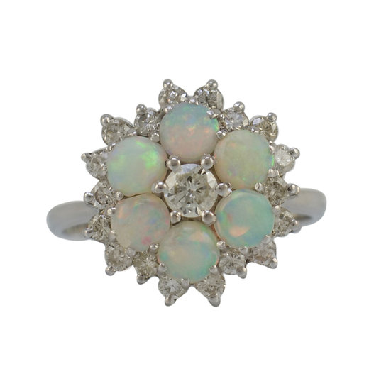 18ct White Gold Diamond & Opal Cluster