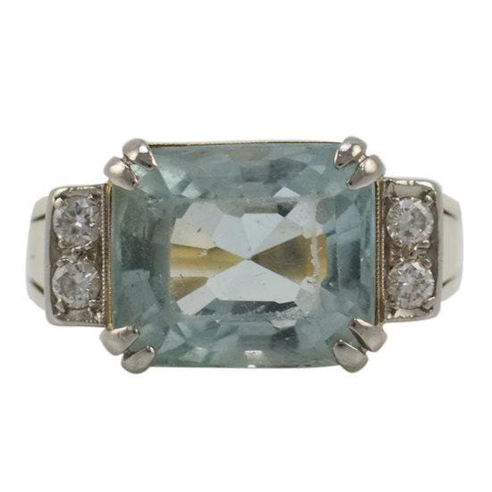 Art Deco Aquamarine & Diamond Ring - SOLD