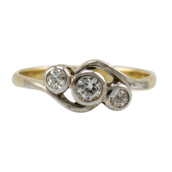 18ct & Platinum Diamond Three Stone Crossover Ring