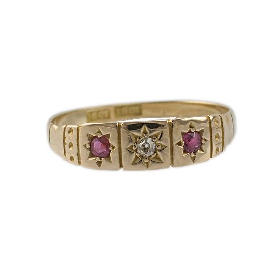 Ruby& Diamond Three Stone Ring