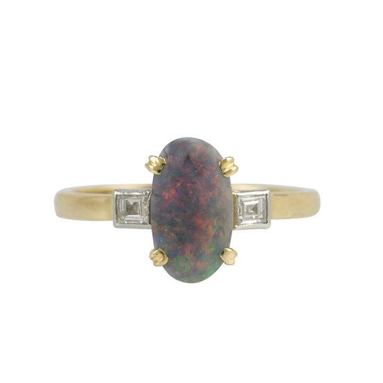Opal & Diamond Vintage Ring - SOLD
