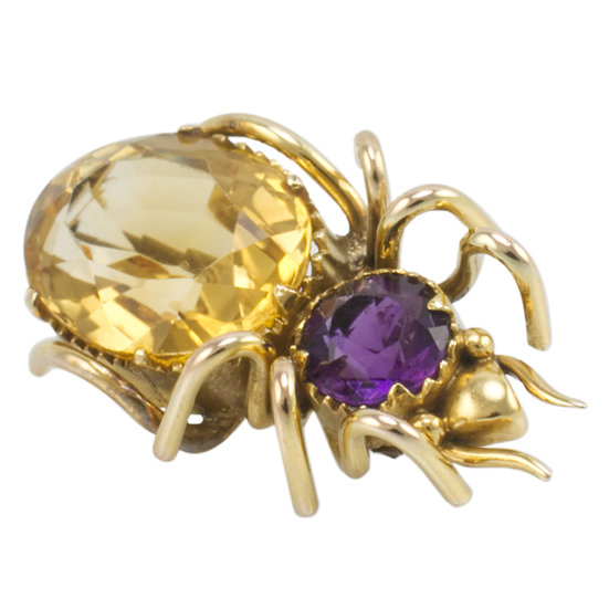 10ct Gold Quartz 'Bug Brooch'
