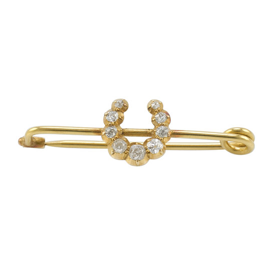 18ct Gold Diamond Set Lucky Horseshoe Brooch - RESERVED