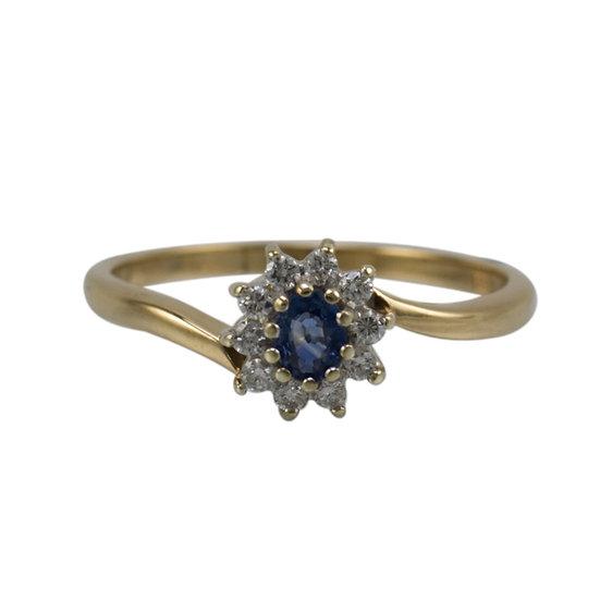 9ct Gold Sapphire & Diamond Cluster Ring