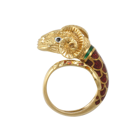18K Enamelled Ring