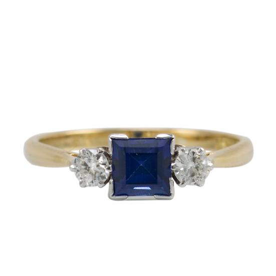 18ct & Platinum Vintage Sapphire and Diamond Ring