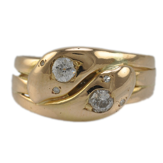 18ct Gold Double Headed Snake Ring - SOLD