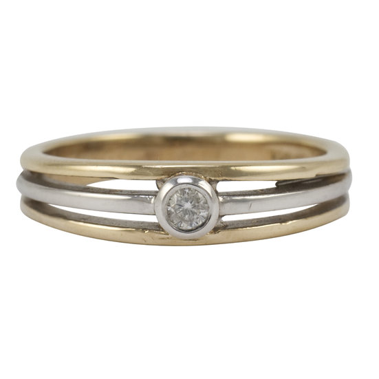 9ct Two-ToneGold Diamond Set Ring - SOLD