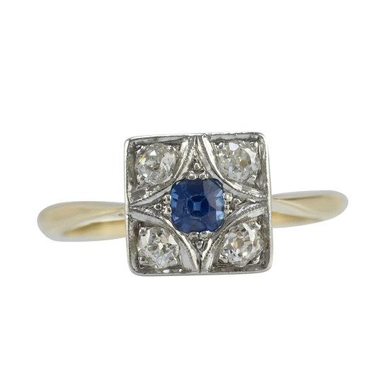 18ct & PLAT Sapphire & Diamond Ring - SOLD