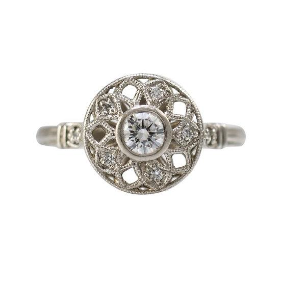 Platinum 'Art Deco' Diamond Ring - SOLD