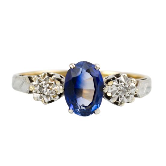 Vintage Oval Synthetic Sapphire & Diamond Ring - SOLD