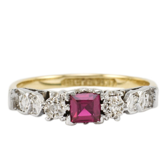 18ct & Platinum Synthetic Ruby & Diamond Ring