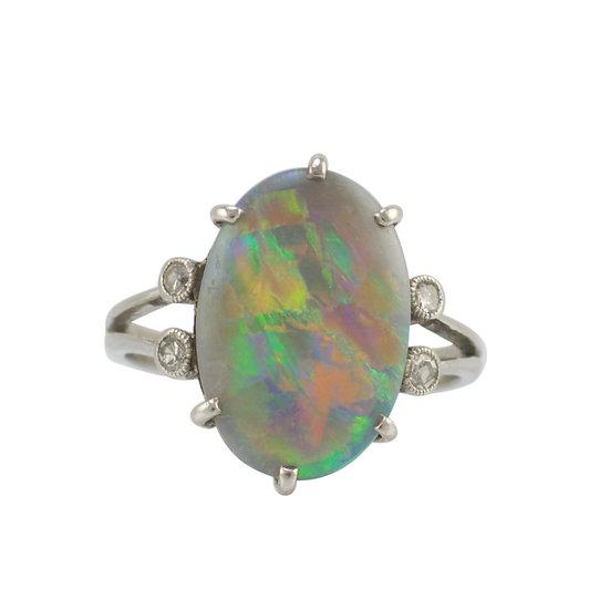 Vintage Platinum & Opal Ring