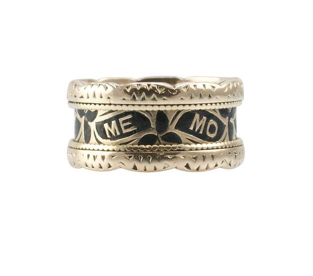 9ct Memorial Ring with Black Enamel