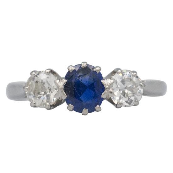 Platinum Vintage Sapphire & Diamond Ring
