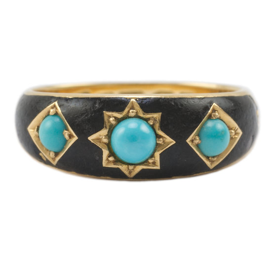 18ct Gold Turquoise & Enamel Ring - SOLD