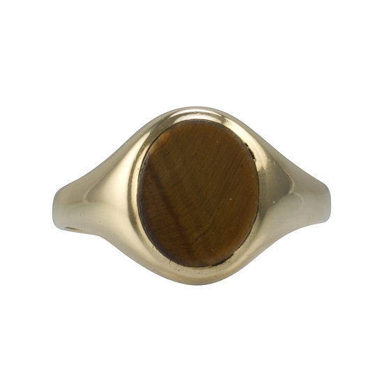 9ct Oval Tigers Eye Signet Ring