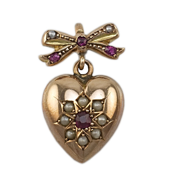 9ct Heart and Bow Pendant - SOLD