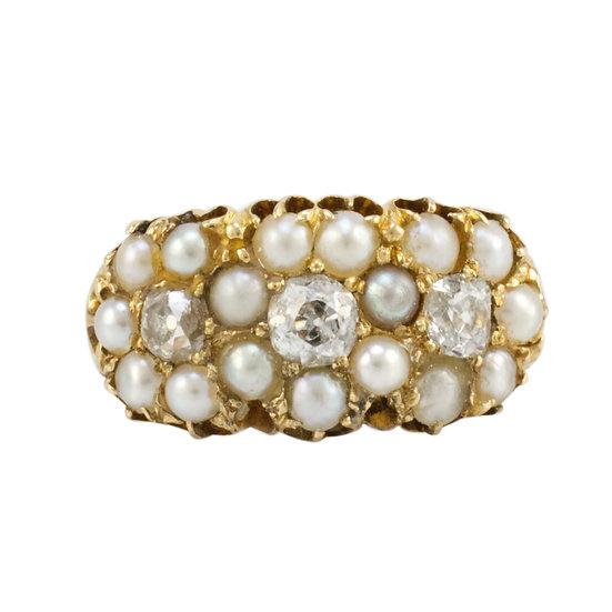 Victorian Diamond & Pearl Ring - SOLD