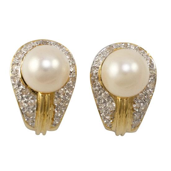 18ct Diamond & Pearl Earrings