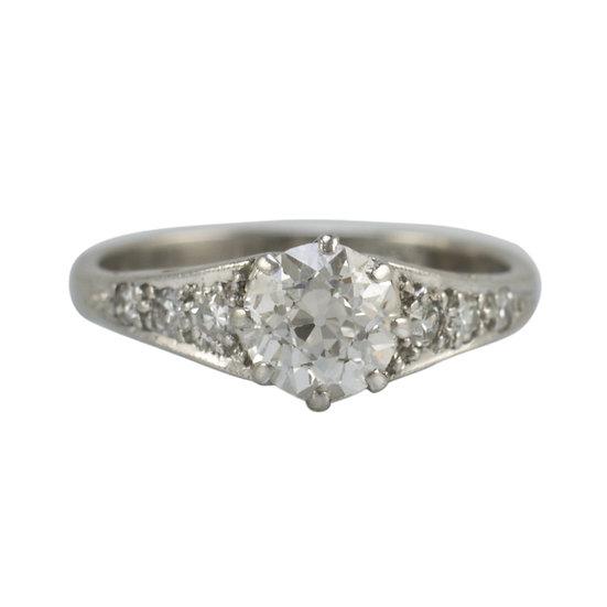 Platinum Antique Engagement Ring - SOLD