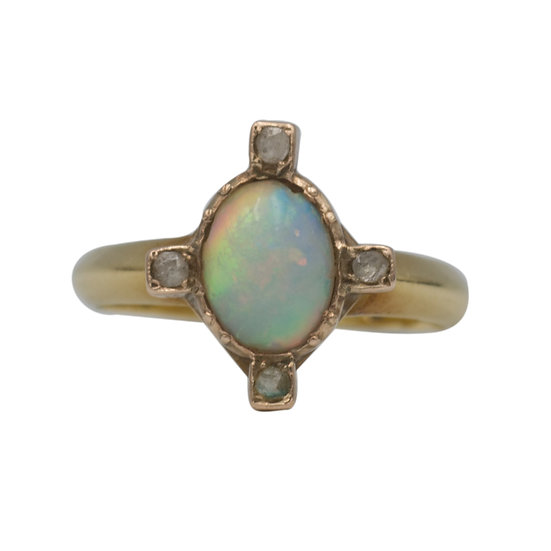 18ct Opal and Diamond Compass Points Ring - SOLD