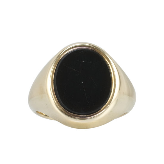 9ct Gold Onyx Signet Ring - Sold