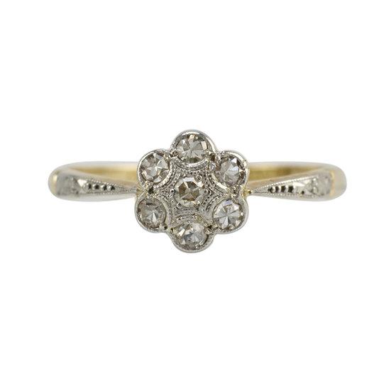 18ct & Platinum Diamond Daisy - SOLD