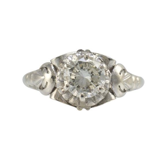 1.02ct Vintage 18ct White Gold Ring