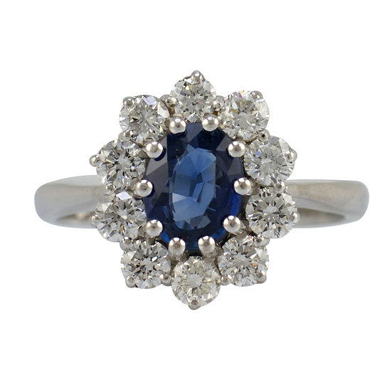 Preowned 18ct White Gold Sapphire & Diamond Cluster Ring