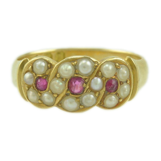 18ct Ruby and Pearl ring - SOLD
