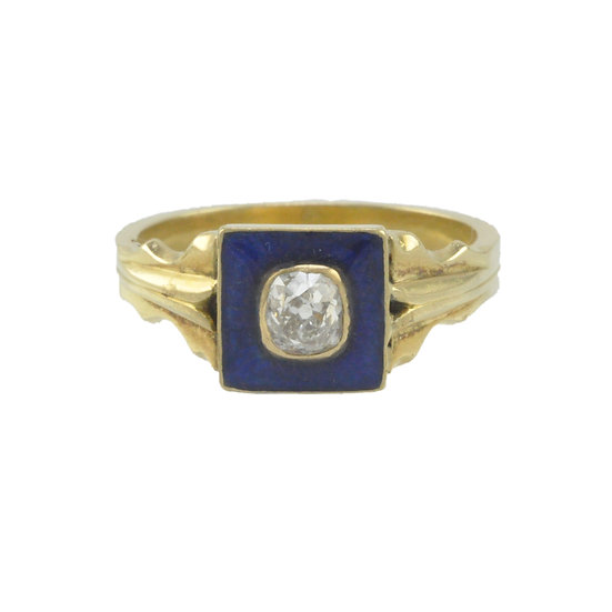18ct Diamond and Royal Blue enamel ring