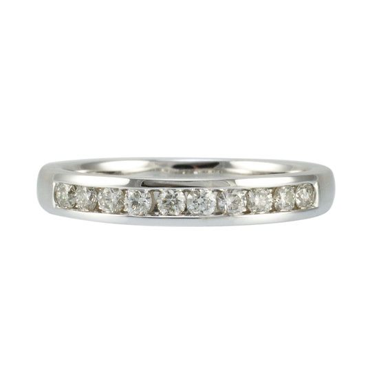 9ct White Gold Channel Set Diamond Ring