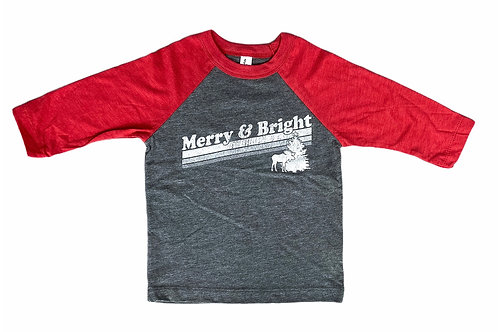 Merry & Bright Kids Baseball Tee by Northeast Print House