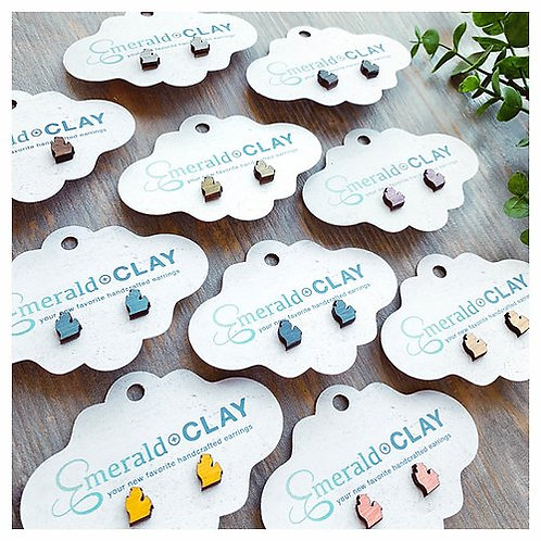 MI Cutout Wood Stud Earrings
