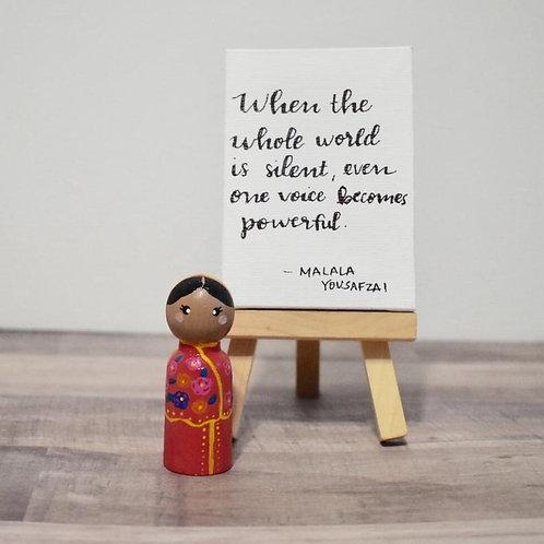 Malala Yousafzai Peg Doll