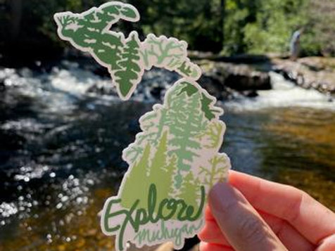 Explore Michigan Sticker by Lady Wood Goods