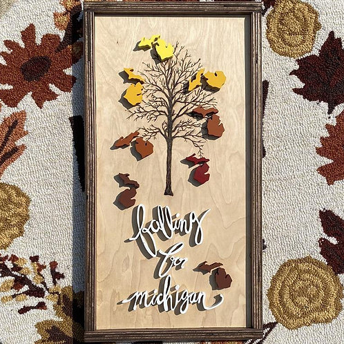 Falling for Michigan Sign by Lady Wood Goods