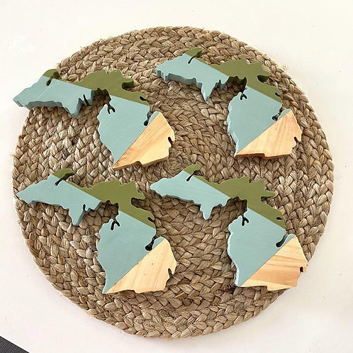 Michigan Geometric Green Coasters by Lady Wood Goods