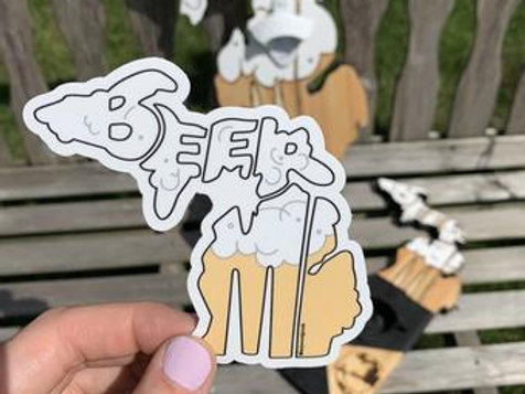 Beer MI Sticker by Lady Wood Goods