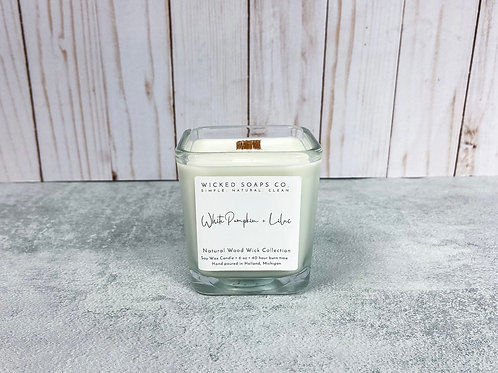 White Pumpkin + Lilac Candle by Wicked Soaps Co.