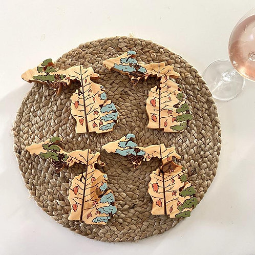 Michigan Fall Pines Coasters by Lady Wood Goods