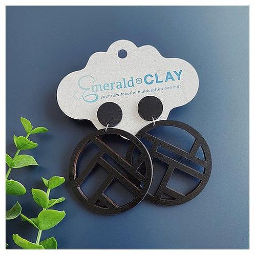 Mondrian Circle Wood Earrings
