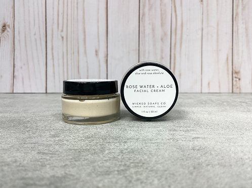 Rose Water + Aloe Facial Cream by Wicked Soaps Co.