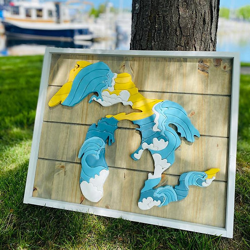 Great Lakes Waves Wood Sign