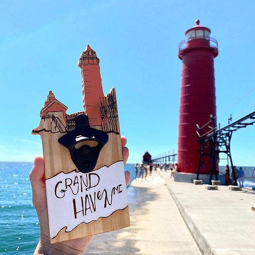 Grand Haven Magnetic Bottle Opener by Lady Wood Goods