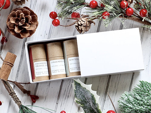 Holiday Lip Balm Set by Wicked Soaps Co.