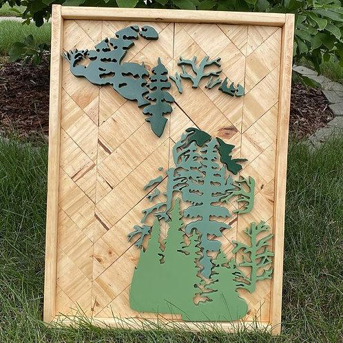 Michigan Pines Herringbone Wood Sign