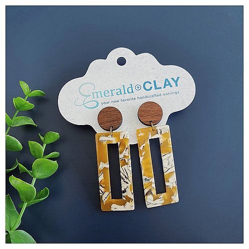 Acrylic Rectangle & Wood Earrings