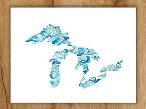 Wavy Lakes Print